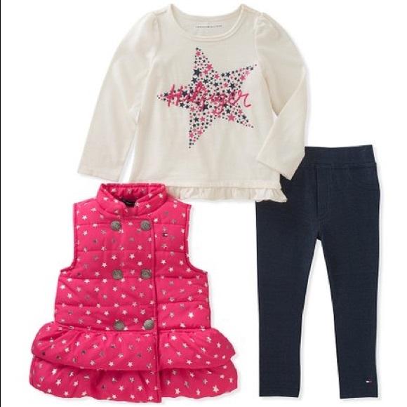 Tommy Hilfiger Other - Tommy Hilfiger Pink & Silver Star Puffer Vest Set